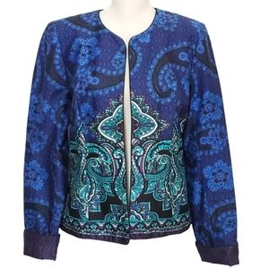 Coldwater Creek Open Front Paisley Floral Blazer